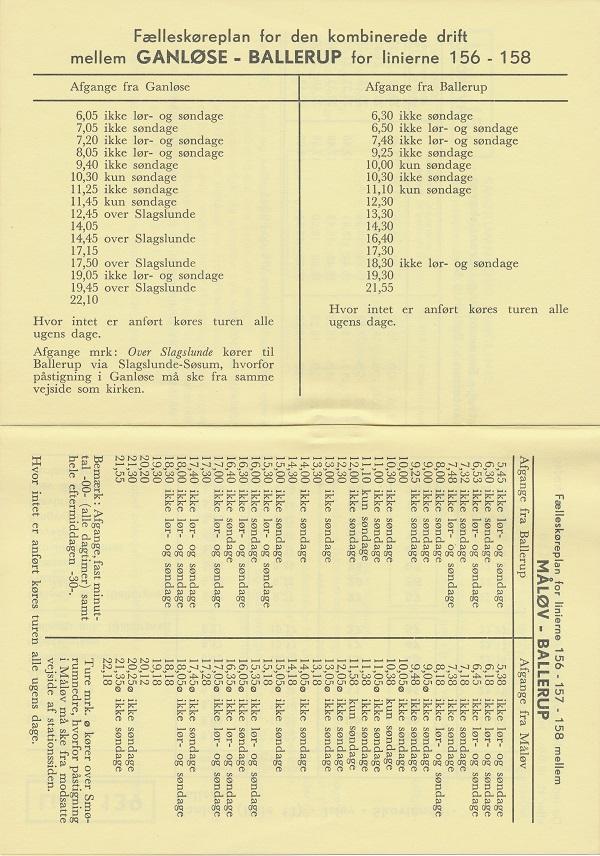 Fælleskøreplaner for linje 156, 157 og 158 i 1971