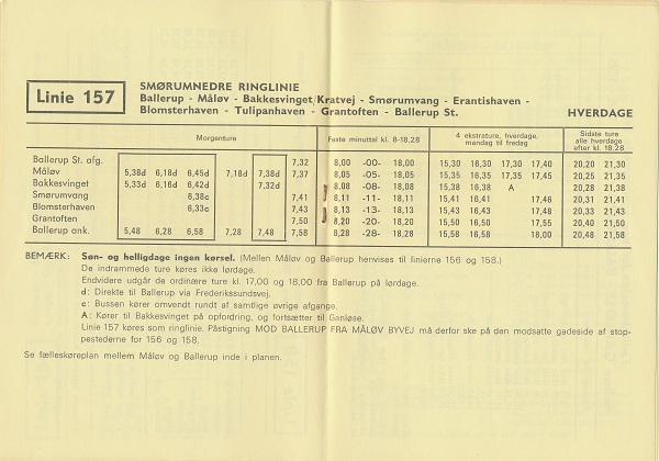 1971-køreplan for linje 157