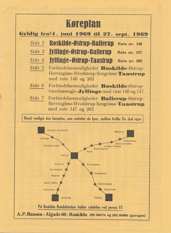 Sommerkøreplan 1969 for linje 146, 147 og 202