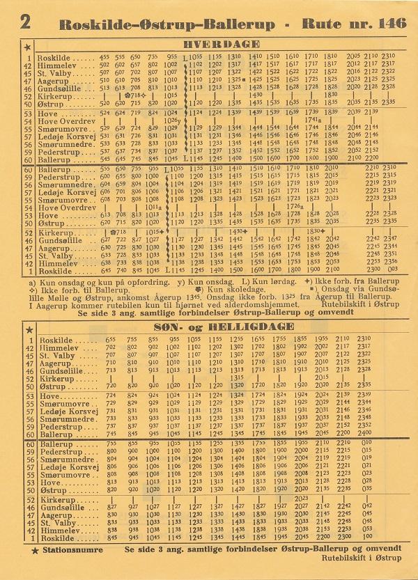 Sommerkøreplan 1969 for linje 146