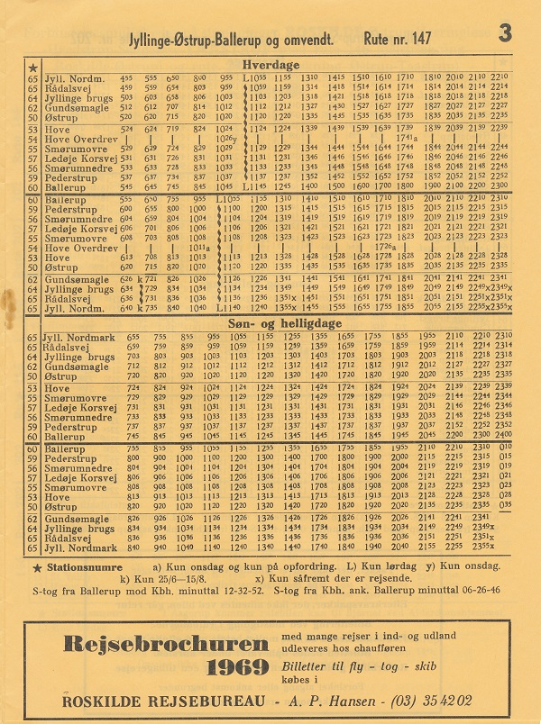 Sommerkøreplan 1969 for linje 147