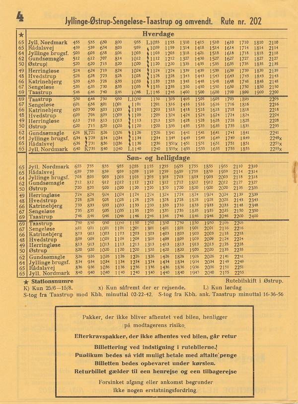 Sommerkøreplan 1969 for linje 202