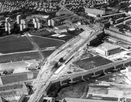 Luftfoto af Borups Allé og Bellahøj 1967