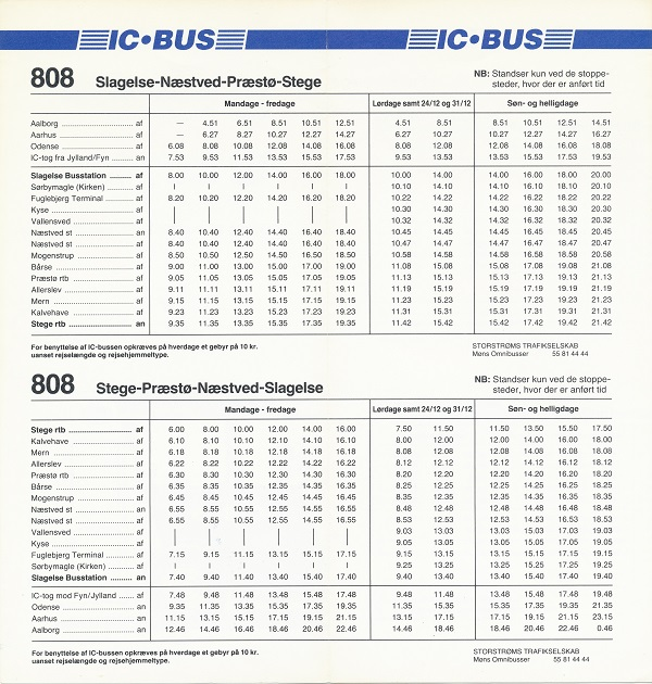 1993-køreplan for IC-bus 808