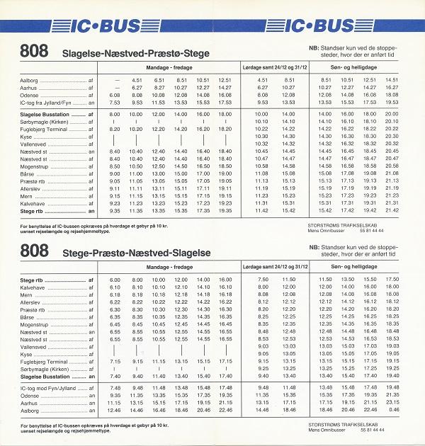1993-køreplan for IC-bus 808