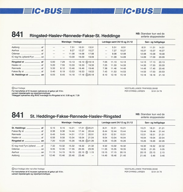 1993-køreplan for IC-bus 841