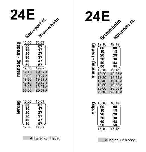 Køreplan for julebuslinje 24E