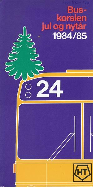 Forside på folderen om buskørsel jul og nytår 1984-85