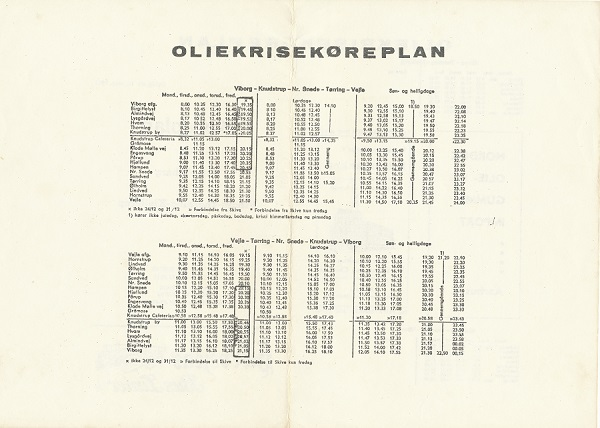 Oliekrisekøreplan fra Hærvejens Bus Linier - bagside