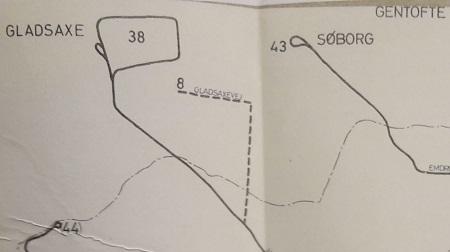 Kort over linje 8, 38 og 43 i Gladsaxe Kommune fra planskitsen (1962)