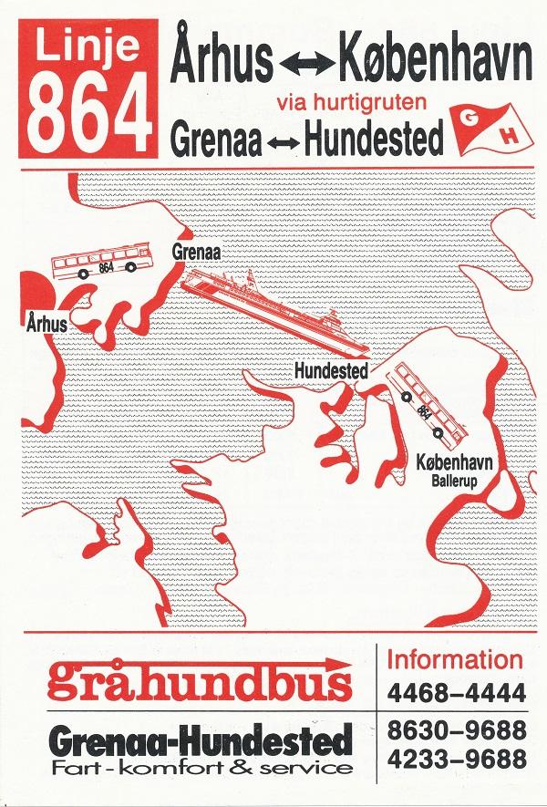Forside af køreplan for linje 864