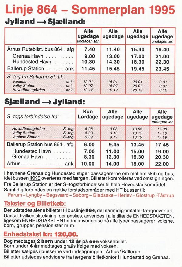 Sommerkøreplan 1995 for linje 864
