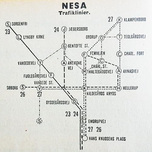 Trolleybusnettet i og omkring Gentofte Kommune vinteren 1957-58