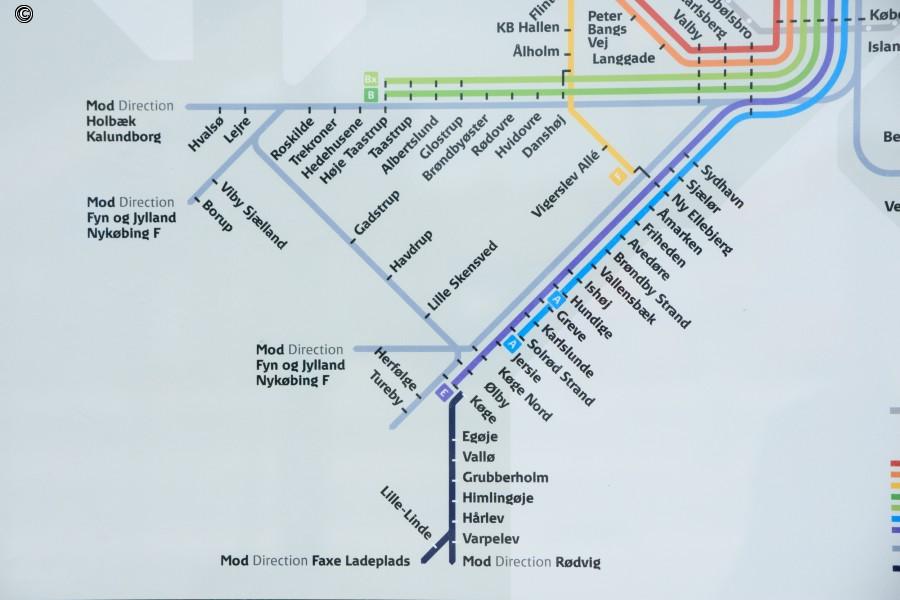 S-togslinjekort med Køge Nord og den nye bane
